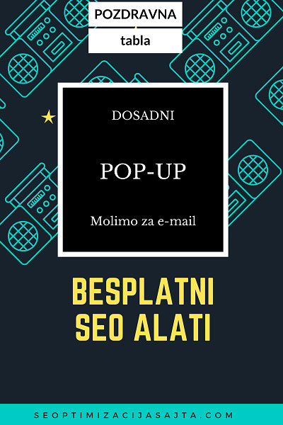 Besplatni seo alat i dosadni pop-up