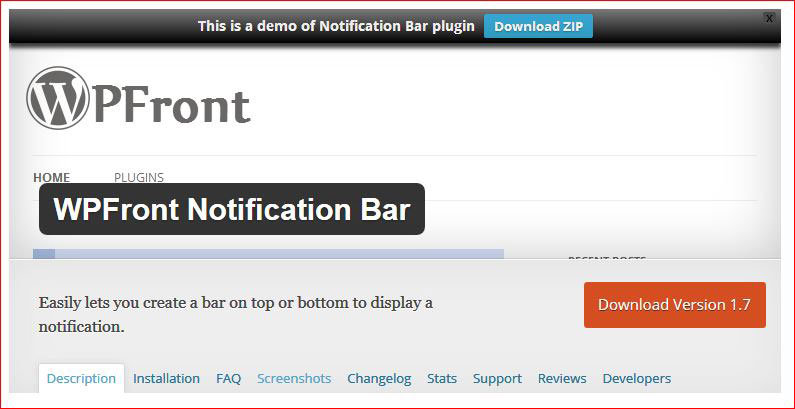 Besplatni seo alat wp-front-notification-bar - plug-in