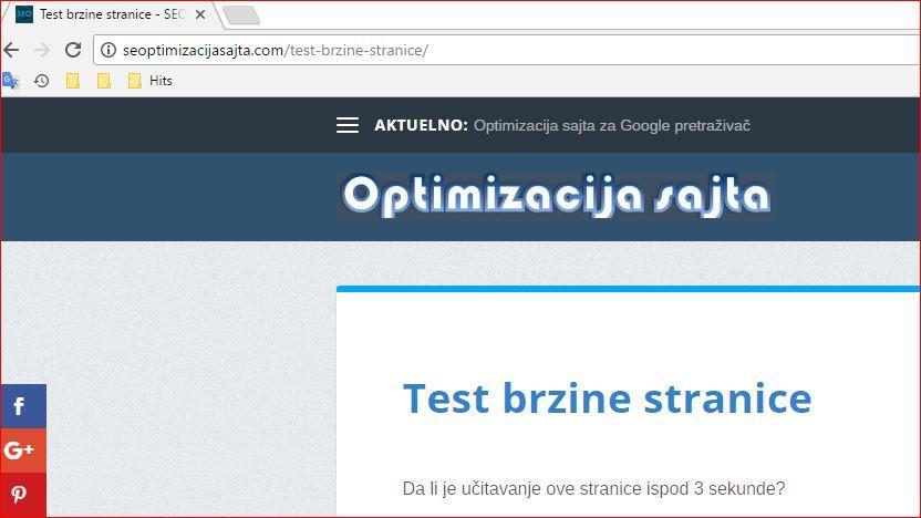 Greške SEO optimizacije - test brzine web stranice