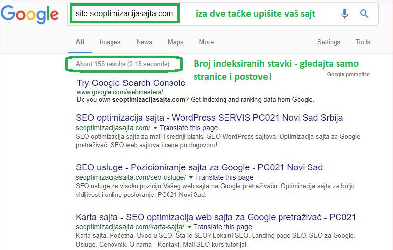 optimizacija wordpress sajta - provera indeksacije