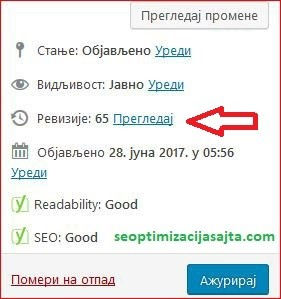 optimizacija wordpress sajta - opcija za reviziju