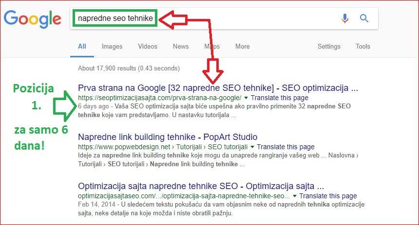 prva strana na google - prva pozicija za 6 dana