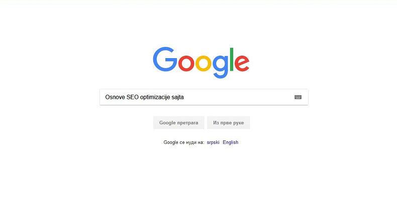 osnove seo optimizacije - google
