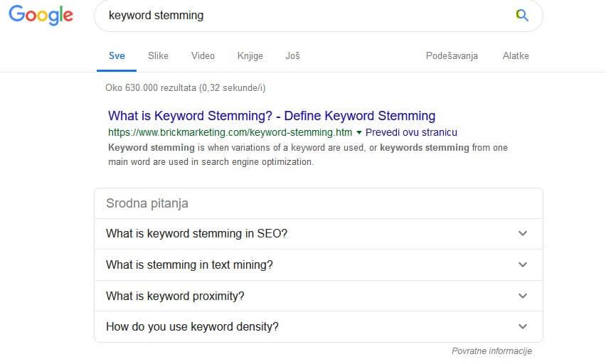 keyword stemming - gugl