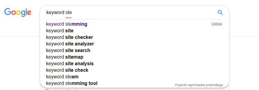 stemming ključnih reči - google ponuda