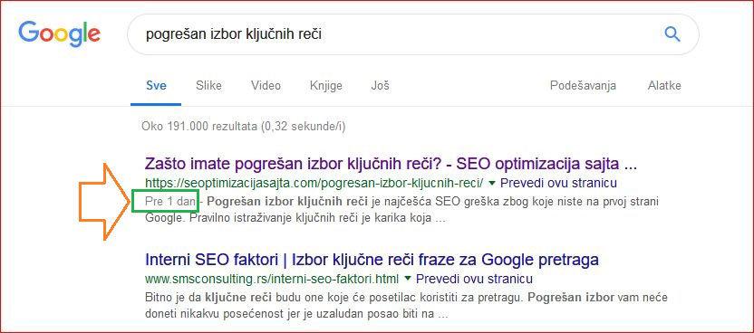 prvi na Google za 1 dan